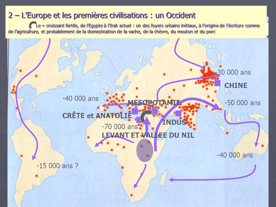 2 – L'Europe et les premières civilisations : un Occident