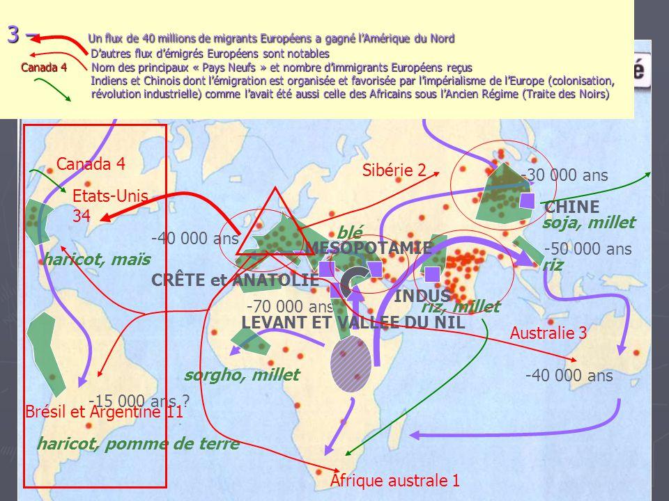 3 – Un flux de 40 millions de migrants Européens a gagné l'Amérique du Nord D'autres flux d'émigrés Européens sont notables Canada 4 Nom des principaux « Pays Neufs » et nombre d'immigrants Européens reçus Indiens et Chinois dont l'émigration est organisée et favorisée par l'impérialisme de l'Europe (colonisation, révolution industrielle) comme l'avait été aussi celle des Africains sous l'Ancien Régime (Traite des Noirs)