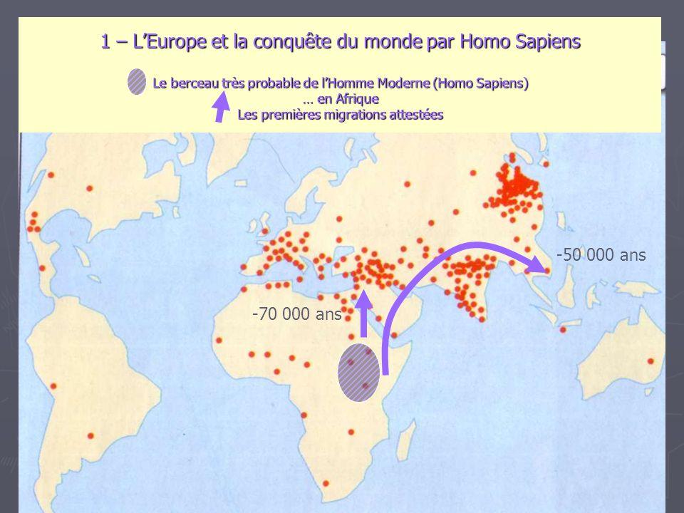 1 – L'Europe et la conquête du monde par Homo Sapiens Le berceau très probable de l'Homme Moderne (Homo Sapiens) … en Afrique Les premières migrations attestées