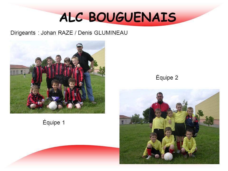 ALC BOUGUENAIS Dirigeants : Johan RAZE / Denis GLUMINEAU Équipe 2