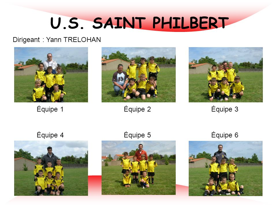 U.S. SAINT PHILBERT Dirigeant : Yann TRELOHAN Équipe 1 Équipe 2