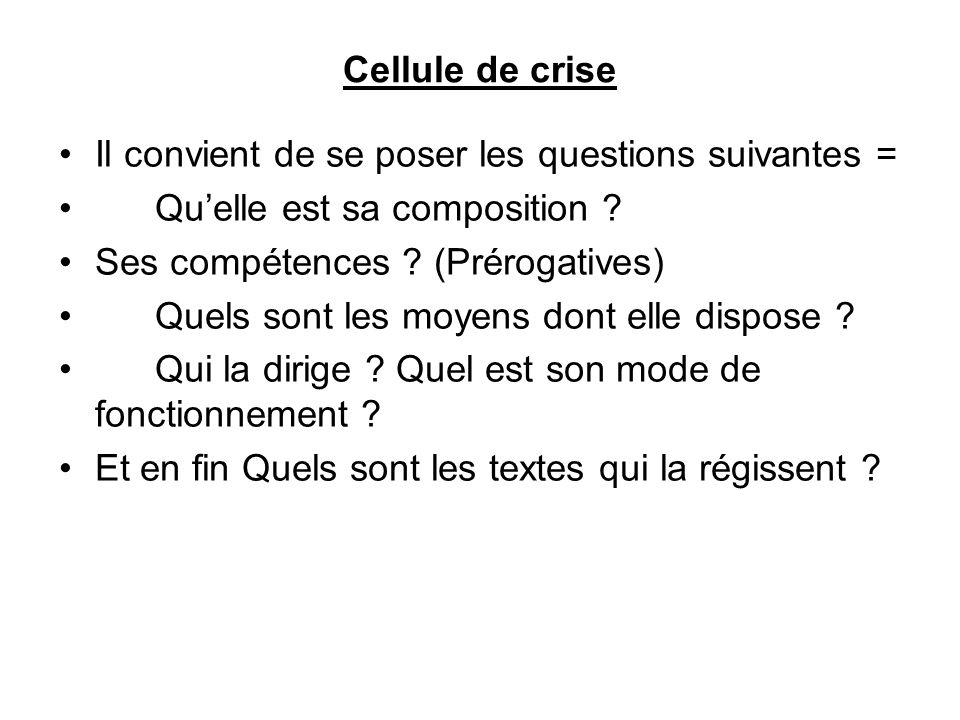 Cellule de crise Il convient de se poser les questions suivantes = Qu'elle est sa composition Ses compétences (Prérogatives)