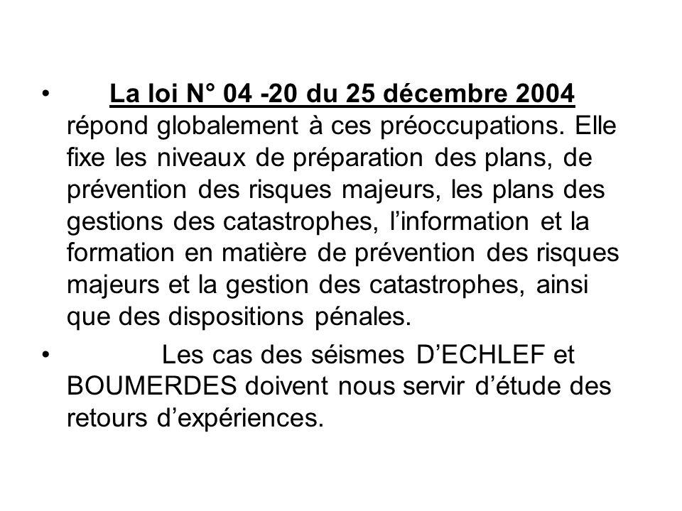 La loi N° 04 -20 du 25 décembre 2004 répond globalement à ces préoccupations. Elle fixe les niveaux de préparation des plans, de prévention des risques majeurs, les plans des gestions des catastrophes, l'information et la formation en matière de prévention des risques majeurs et la gestion des catastrophes, ainsi que des dispositions pénales.