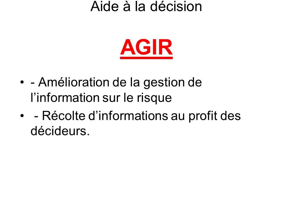 Aide à la décision AGIR - Amélioration de la gestion de l'information sur le risque.