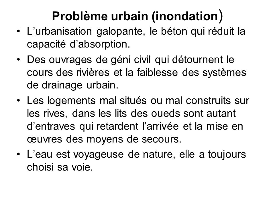 Problème urbain (inondation)