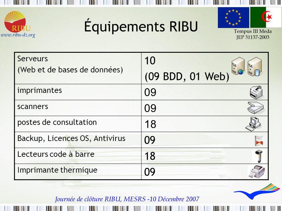 Équipements RIBU 10 (09 BDD, 01 Web) 09 18 Serveurs