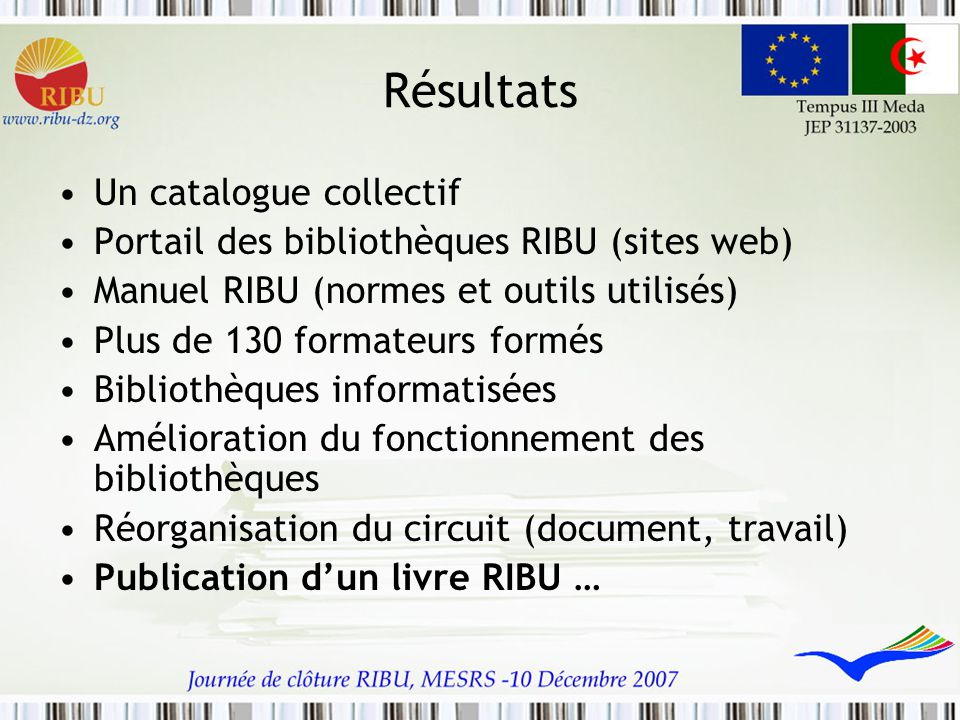 Résultats Un catalogue collectif