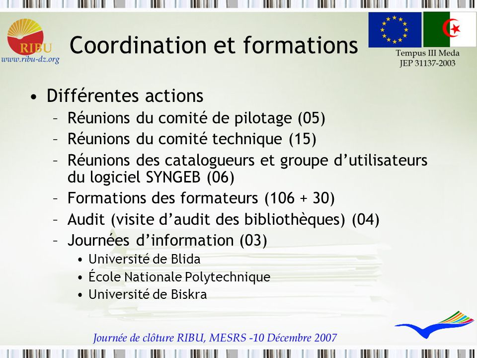 Coordination et formations