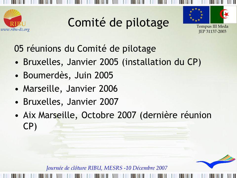 Comité de pilotage 05 réunions du Comité de pilotage