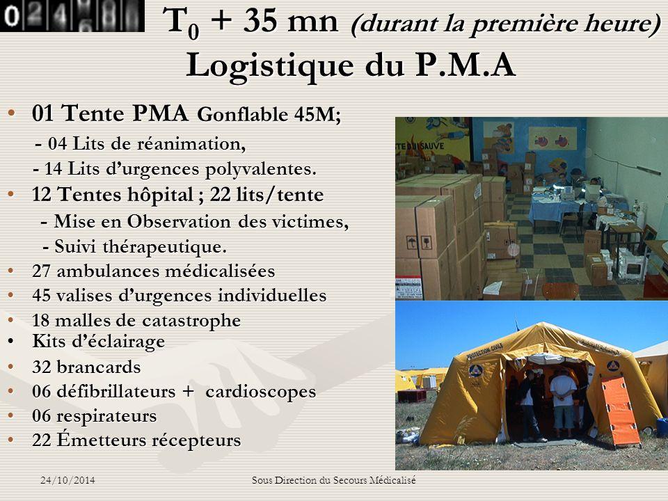 T0 + 35 mn (durant la première heure) Logistique du P.M.A