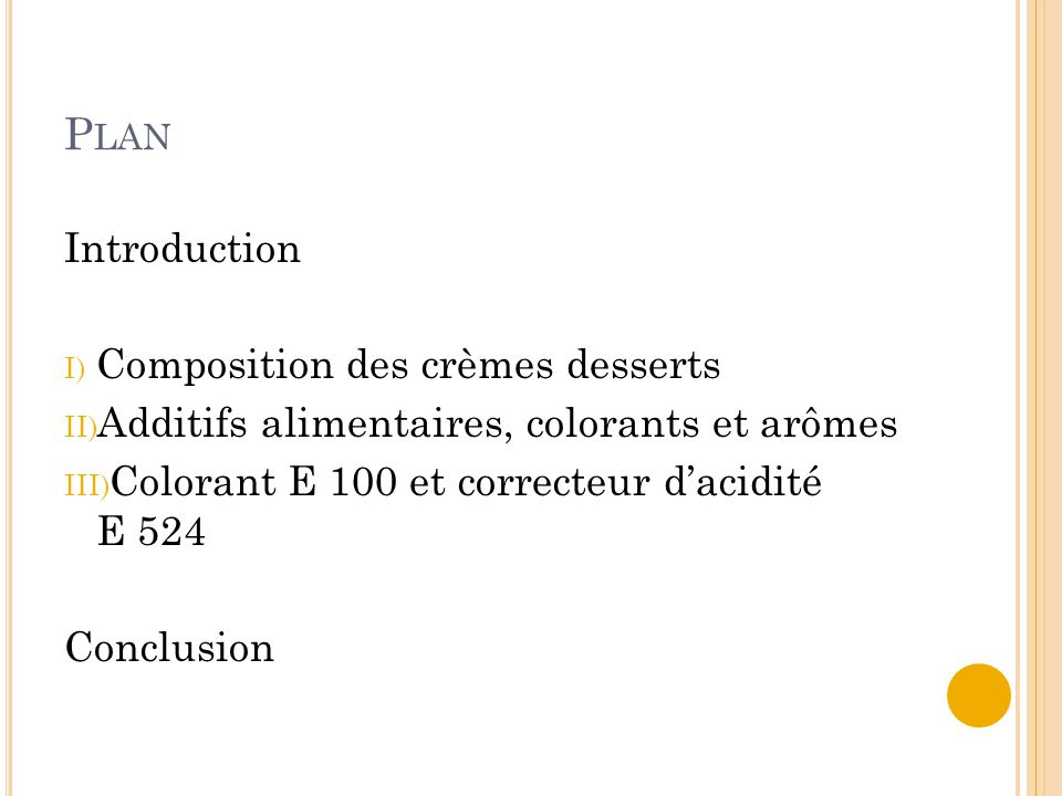 Plan Introduction Composition des crèmes desserts