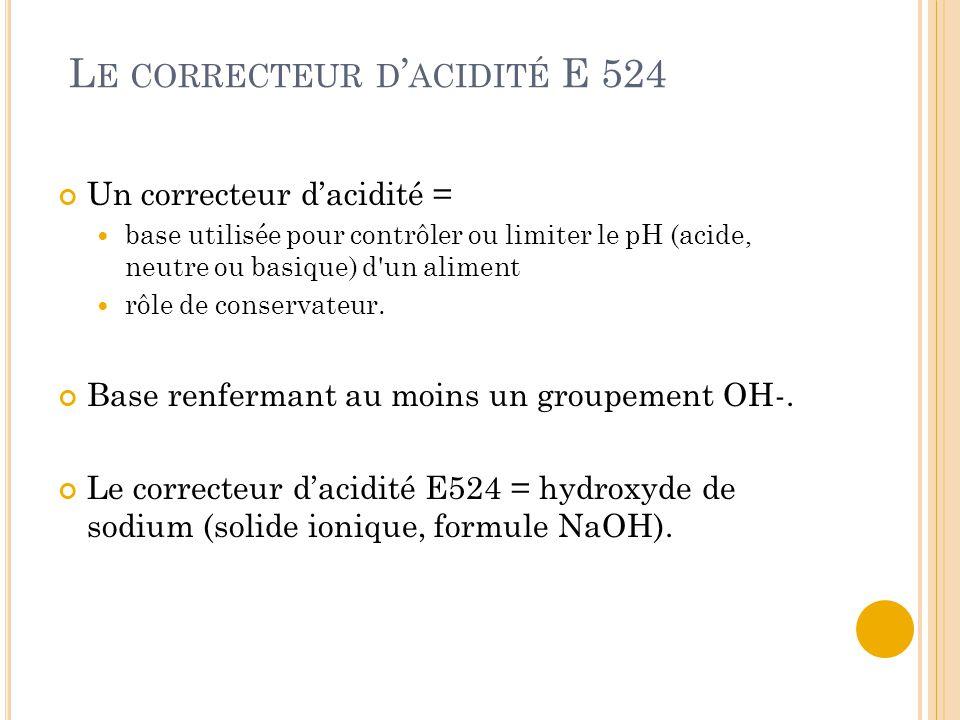Le correcteur d'acidité E 524
