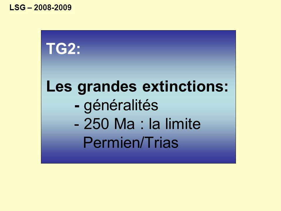 LSG – 2008-2009 TG2: Les grandes extinctions: - généralités - 250 Ma : la limite Permien/Trias.