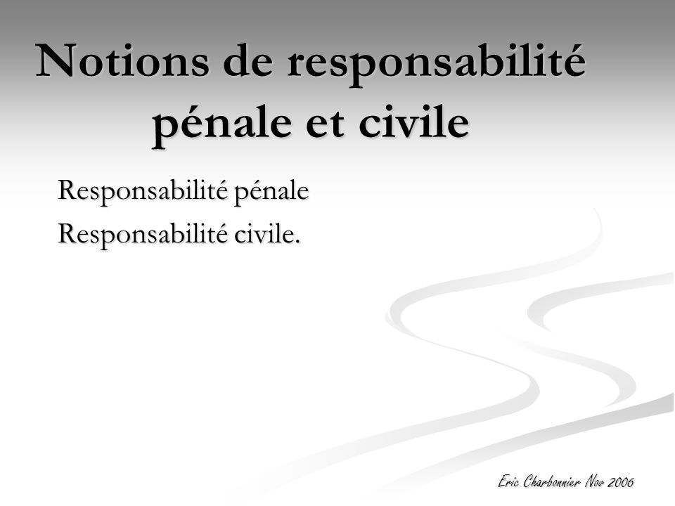 Notions de responsabilité pénale et civile