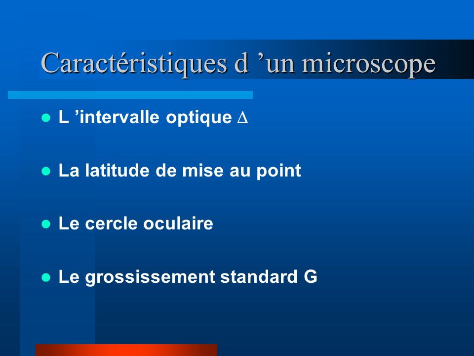Caractéristiques d 'un microscope