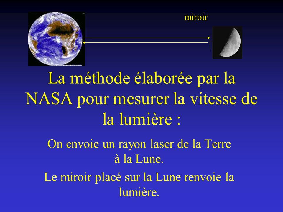 miroir La méthode élaborée par la NASA pour mesurer la vitesse de la lumière : On envoie un rayon laser de la Terre à la Lune.
