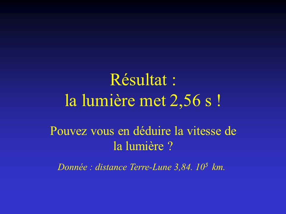 Résultat : la lumière met 2,56 s !