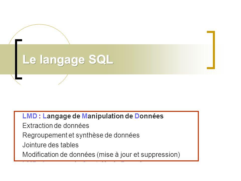 Le langage SQL LDD : Langage de Définition de Données