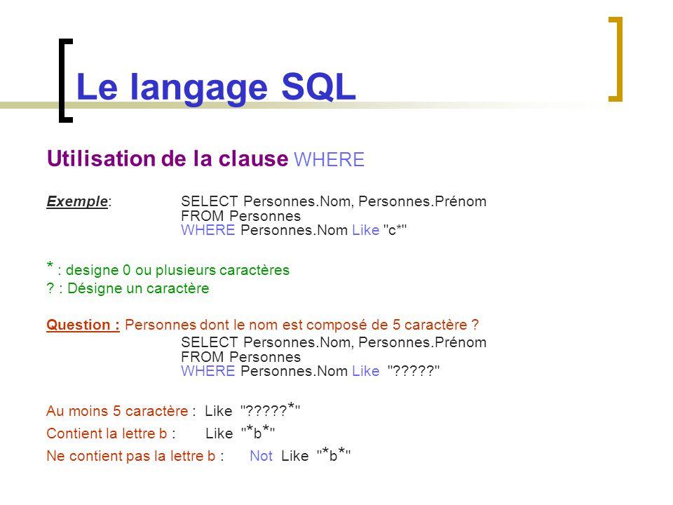 Le langage SQL Utilisation de la clause WHERE