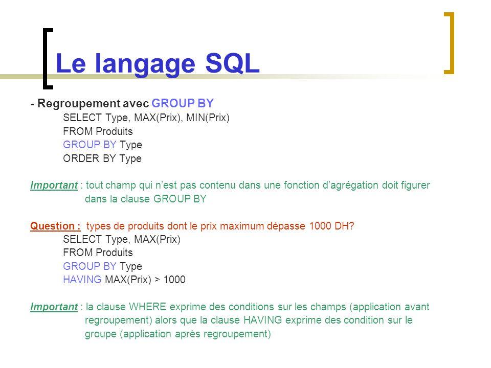 Le langage SQL - Regroupement avec GROUP BY