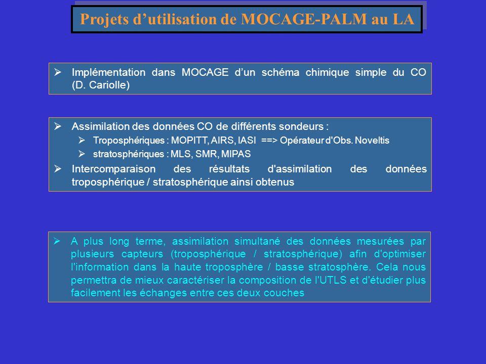 Projets d'utilisation de MOCAGE-PALM au LA