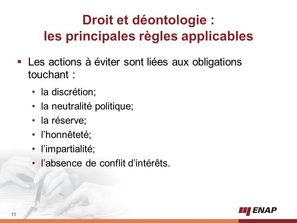 Droit et déontologie : les principales règles applicables