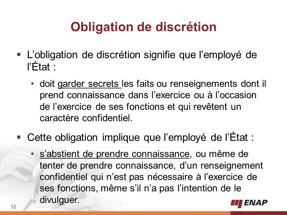 Obligation de discrétion