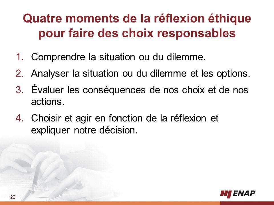 Quatre moments de la réflexion éthique pour faire des choix responsables