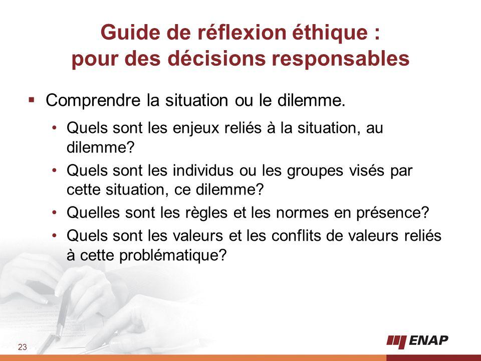 Guide de réflexion éthique : pour des décisions responsables