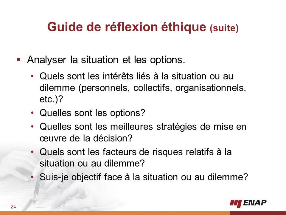 Guide de réflexion éthique (suite)