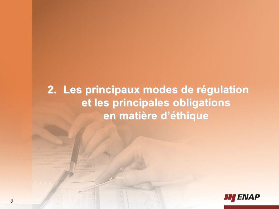Les principaux modes de régulation et les principales obligations en matière d'éthique
