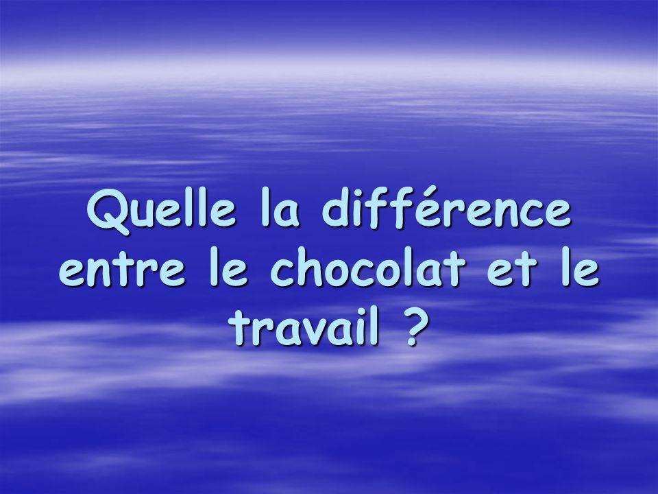 Quelle la différence entre le chocolat et le travail