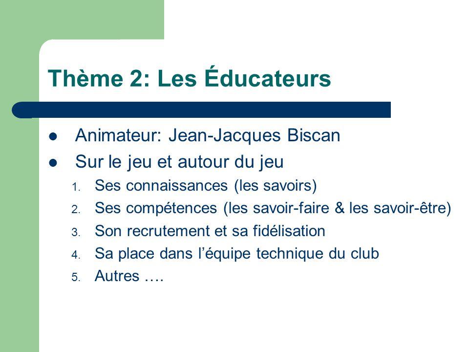 Thème 2: Les Éducateurs Animateur: Jean-Jacques Biscan