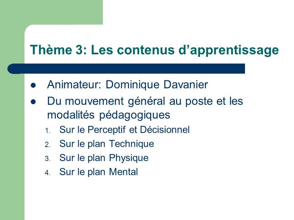 Thème 3: Les contenus d'apprentissage