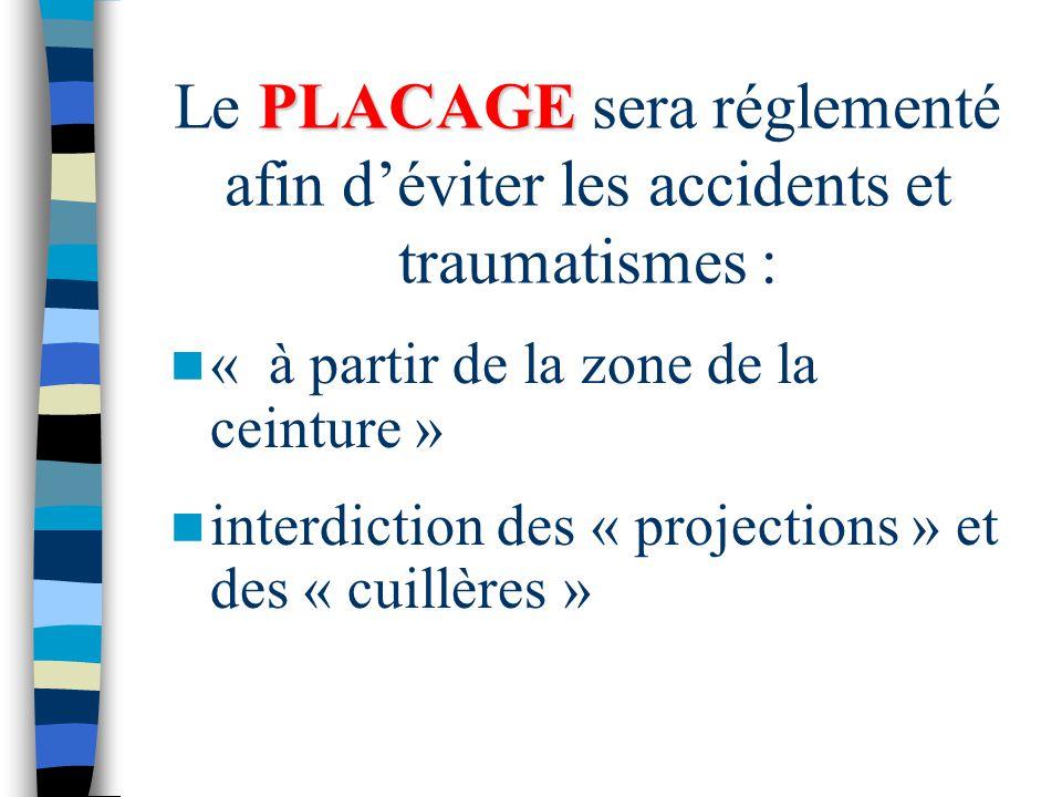 Le PLACAGE sera réglementé afin d'éviter les accidents et traumatismes :