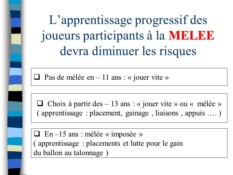 L'apprentissage progressif des joueurs participants à la MELEE devra diminuer les risques