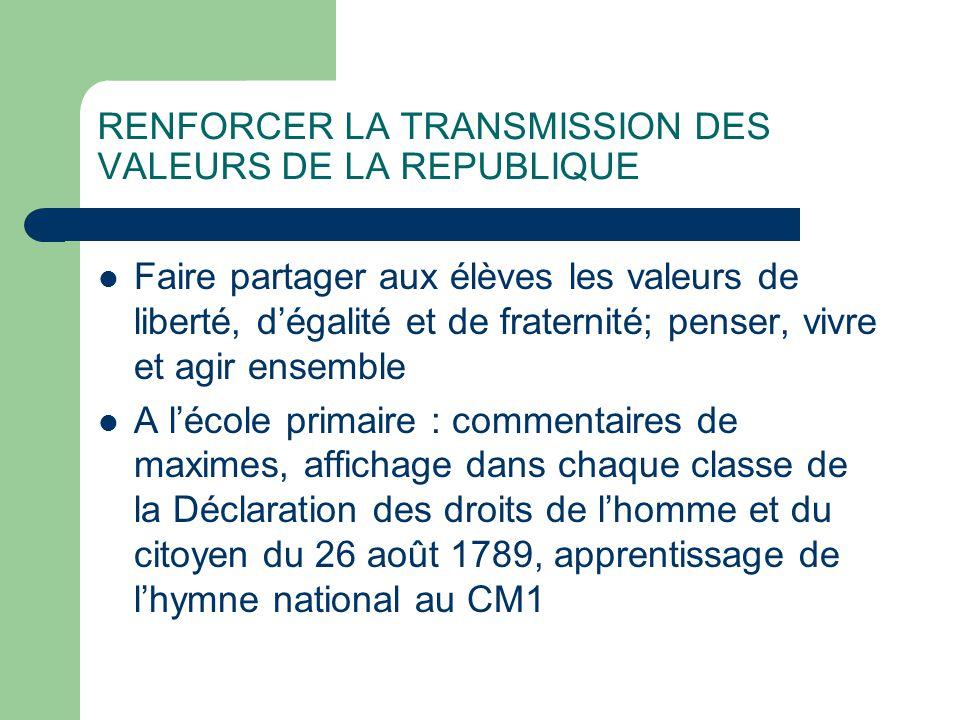 RENFORCER LA TRANSMISSION DES VALEURS DE LA REPUBLIQUE