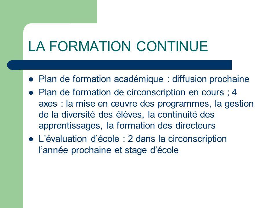 LA FORMATION CONTINUE Plan de formation académique : diffusion prochaine.