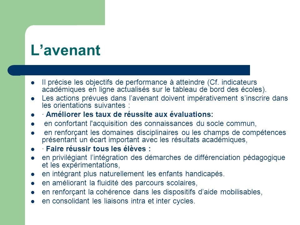L'avenant Il précise les objectifs de performance à atteindre (Cf. indicateurs académiques en ligne actualisés sur le tableau de bord des écoles).