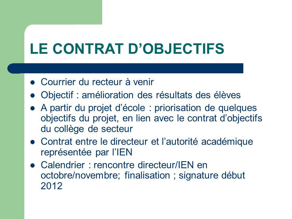 LE CONTRAT D'OBJECTIFS