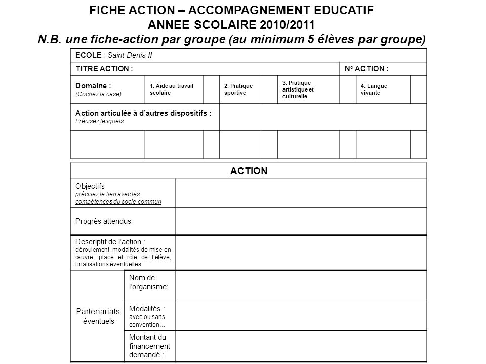 FICHE ACTION – ACCOMPAGNEMENT EDUCATIF ANNEE SCOLAIRE 2010/2011