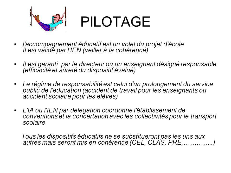 PILOTAGE l accompagnement éducatif est un volet du projet d école Il est validé par l IEN (veiller à la cohérence)