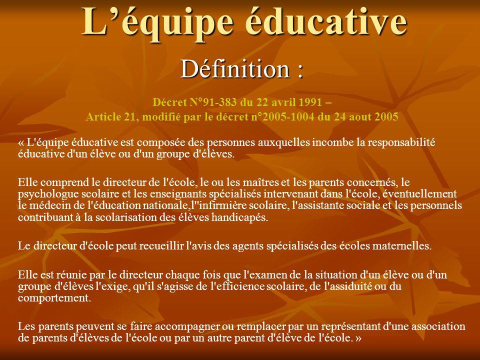 Article 21, modifié par le décret n°2005-1004 du 24 aout 2005