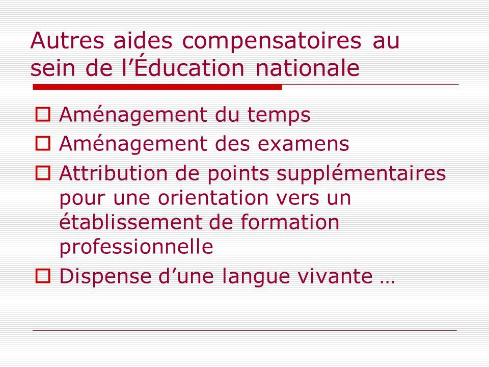 Autres aides compensatoires au sein de l'Éducation nationale