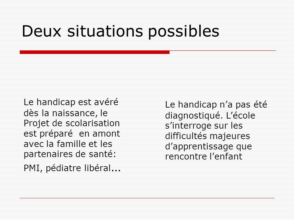 Deux situations possibles