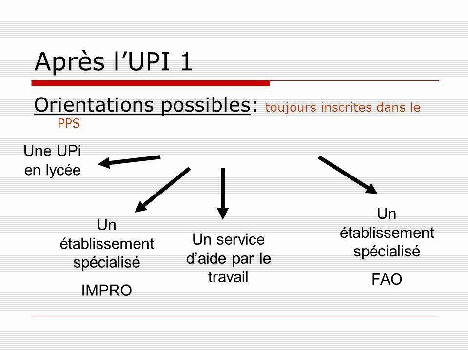 Après l'UPI 1 Orientations possibles: toujours inscrites dans le PPS