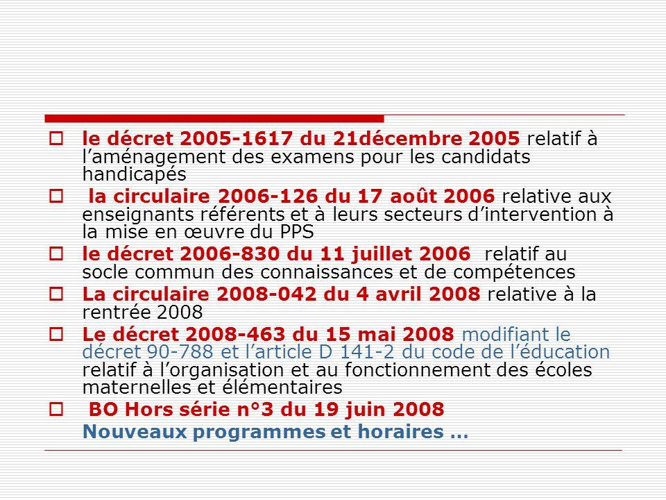 le décret 2005-1617 du 21décembre 2005 relatif à l'aménagement des examens pour les candidats handicapés
