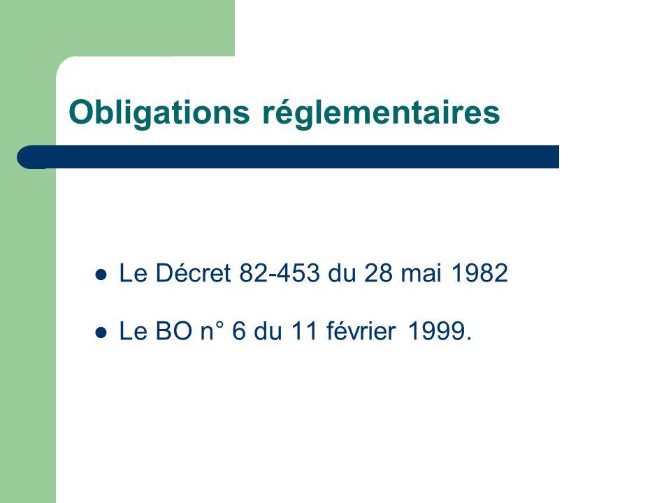 Obligations réglementaires