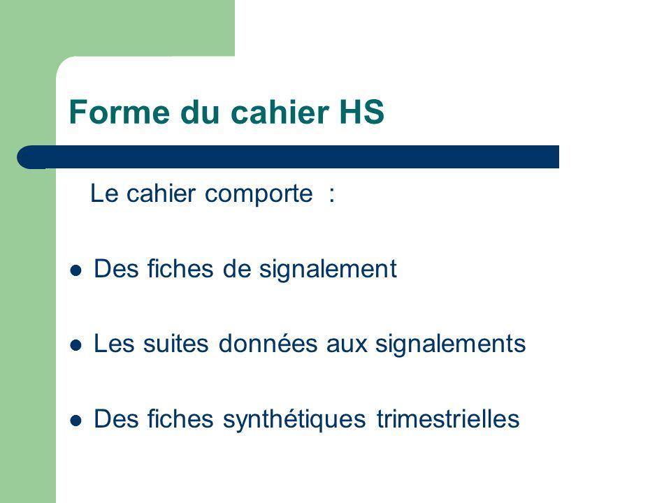Forme du cahier HS Le cahier comporte : Des fiches de signalement