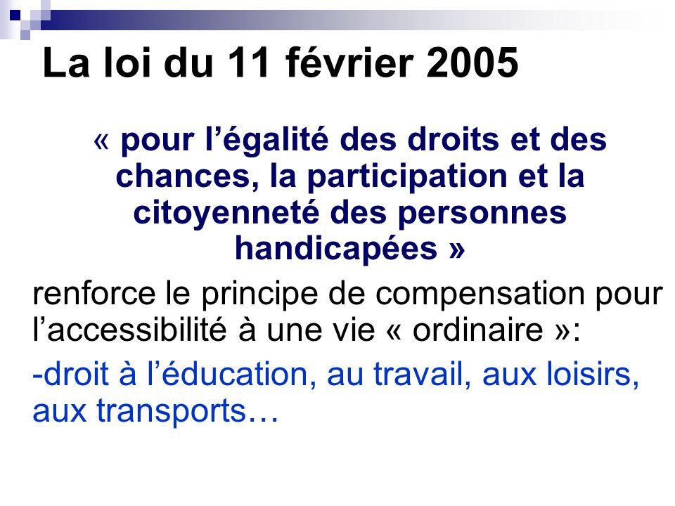 La loi du 11 février 2005 « pour l'égalité des droits et des chances, la participation et la citoyenneté des personnes handicapées »